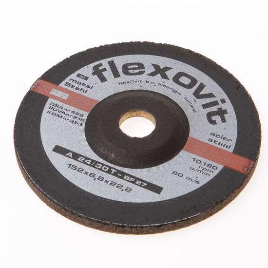 Afbeelding van Flexovit Afbraamschijf A 30 S-BF2 7 staal en RVS 152 x 6.8 x 22mm