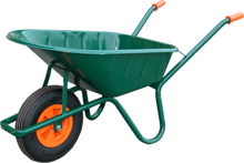 Afbeeldingen van Kruiwagen 80 liter stalen bak 2ply luchtband groen