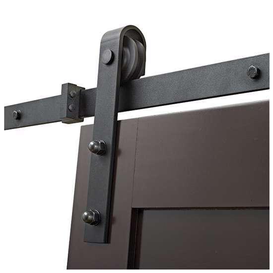 Afbeelding van Schuifdeurset 'Tess' mat zwart lengte 2 meter