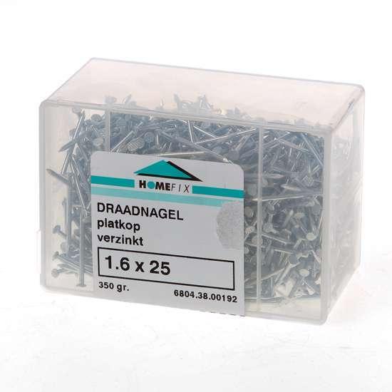 Afbeelding van Draadnagel plat geruite kop gegalvaniseerd 1.6 x 25mm 350 gram
