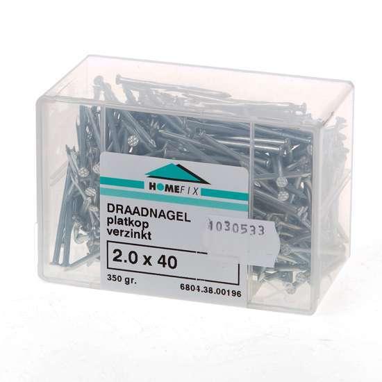 Afbeelding van Draadnagel plat geruite kop gegalvaniseerd 2.0 x 40mm 350 gram