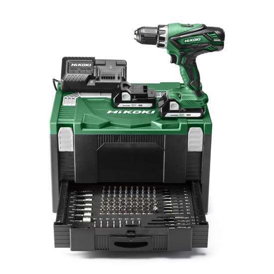 Afbeelding van Hikoki accu boor-/schroefmachine 18 Volt, met twee accu's 1,5Ah en lader. In stapelbare systainer en lade gevuld met 100-delige accessoireset.