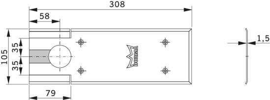 Afbeelding van Dorma Afdekplaat voor vloerveer BTS 75V brugbevestiging