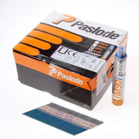 Afbeelding van Paslode stripspijker ring verzinkt 3.1 x 90mm inclusief gas IM90 doos met 2500 spijkers