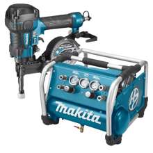 Afbeeldingen van Makita Set DK1156 met schroefautomaat AR410HR en compressor AC310H