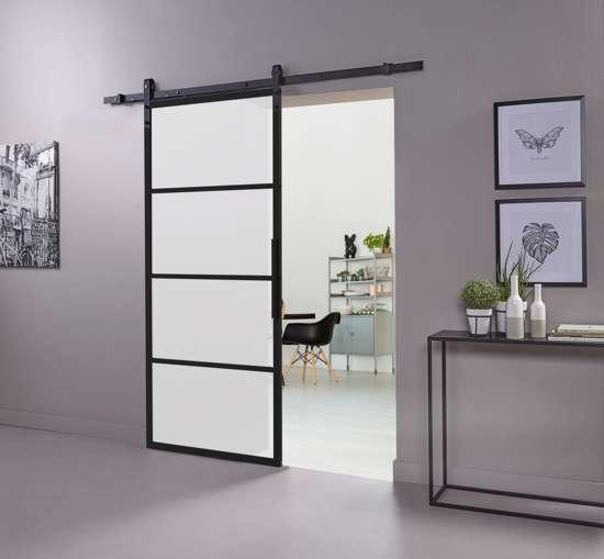 Afbeelding van DIY-schuifdeur Cubo zwart inclusief mat glas, afmeting deur 2150x980x28mm + zwart ophangsysteem type Basic
