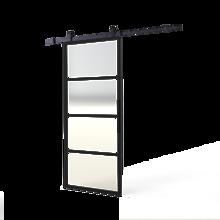 Afbeeldingen van DIY-schuifdeur Cubo zwart inclusief transparant glas, afmeting deur 2150x980x28mm + zwart ophangsysteem type Basic Top