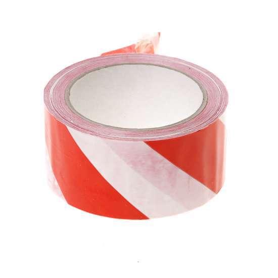 Afbeelding van PVC Waarschuwingstape rood-wit 50mm x 66 meter