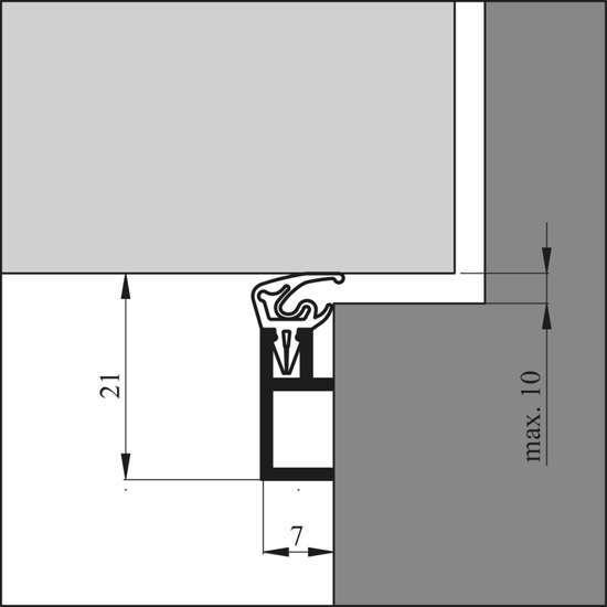 Afbeelding van Tochtprofiel alu.opbouw arp+  220cm